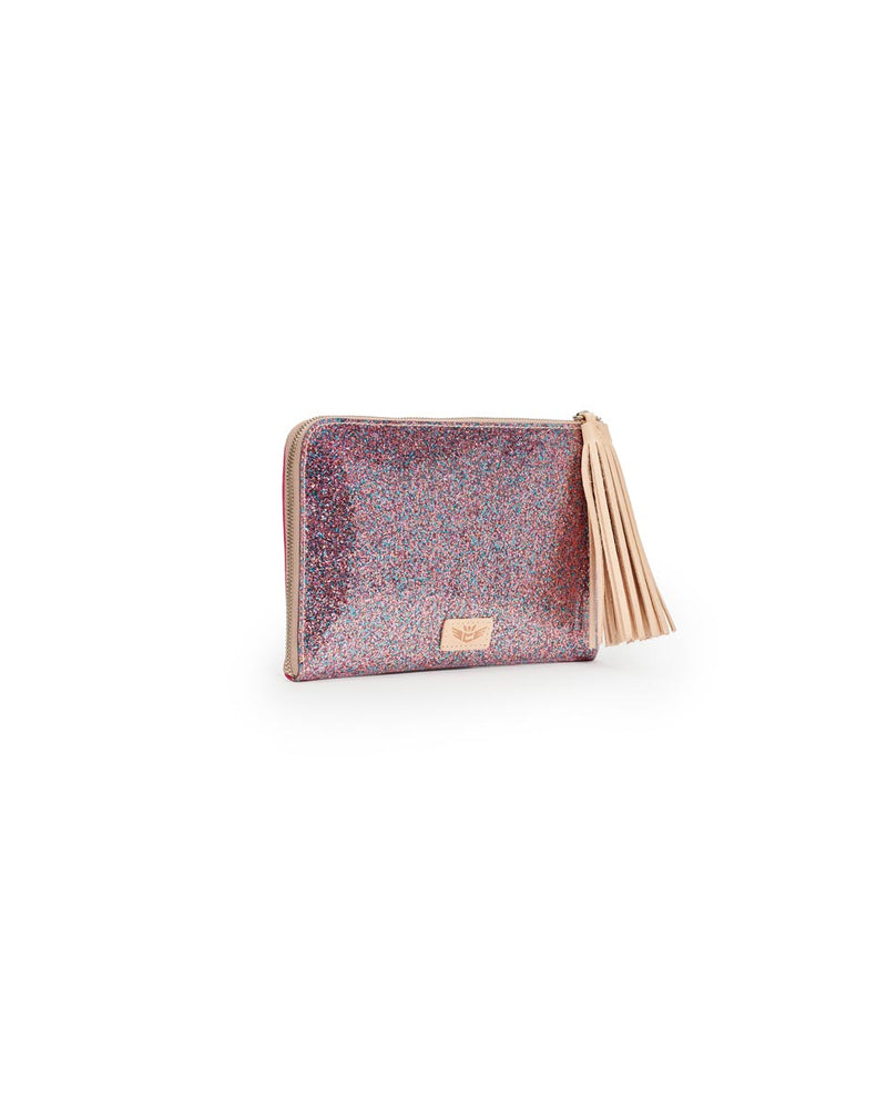Consuela Raspberry L-Shaped Clutch Side View