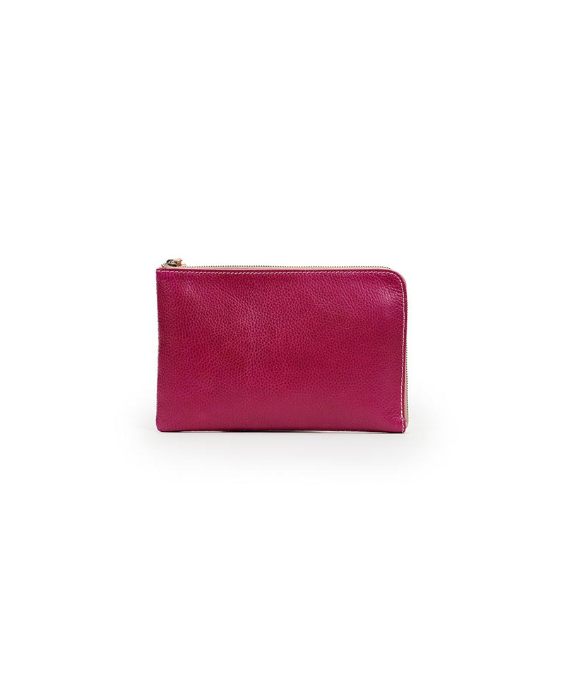Consuela Raspberry L-Shaped Clutch Back View