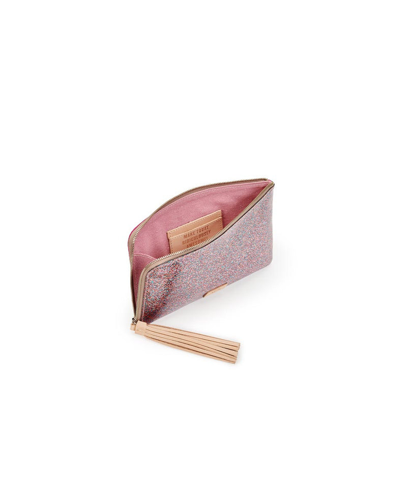 Consuela Raspberry L-Shaped Clutch Inside View