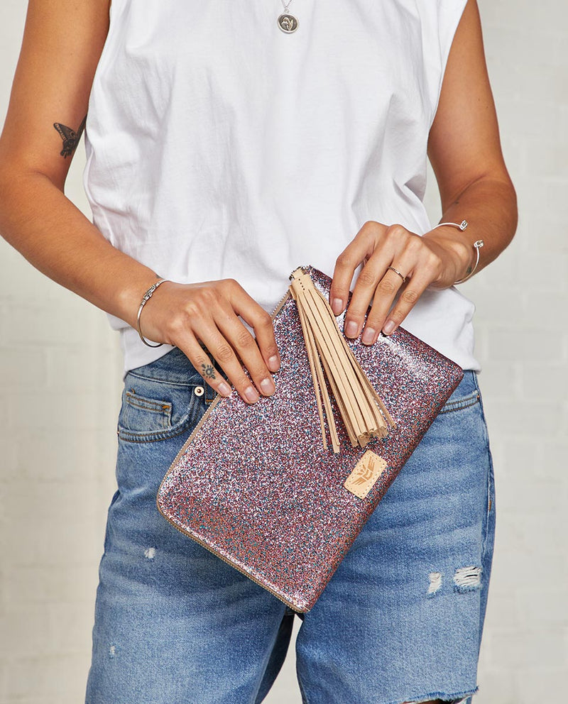 Consuela Raspberry L-Shaped Clutch On Model