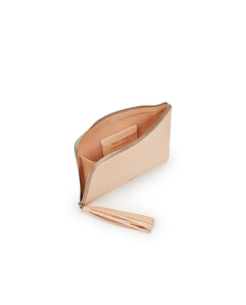 Consuela Peacock L-Shaped Clutch Inside View