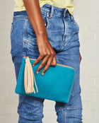 Consuela Peacock L-Shaped Clutch On Model