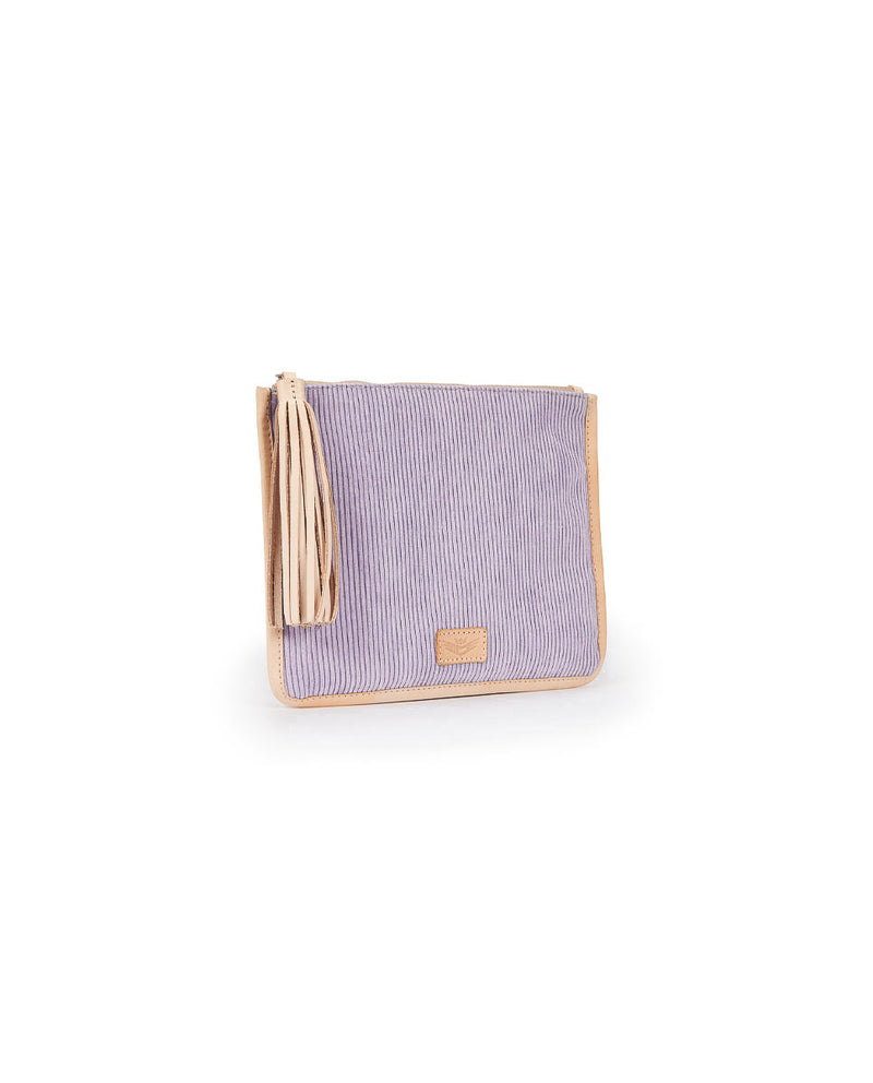 Mara Anything Goes Pouch in lilac corduroy by Consuela, side view