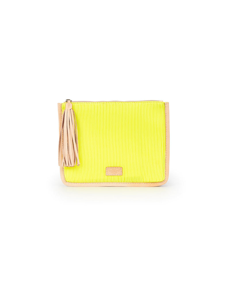 Sunshine Anything Goes Pouch in yellow ribbed fabric by Consuela, front view