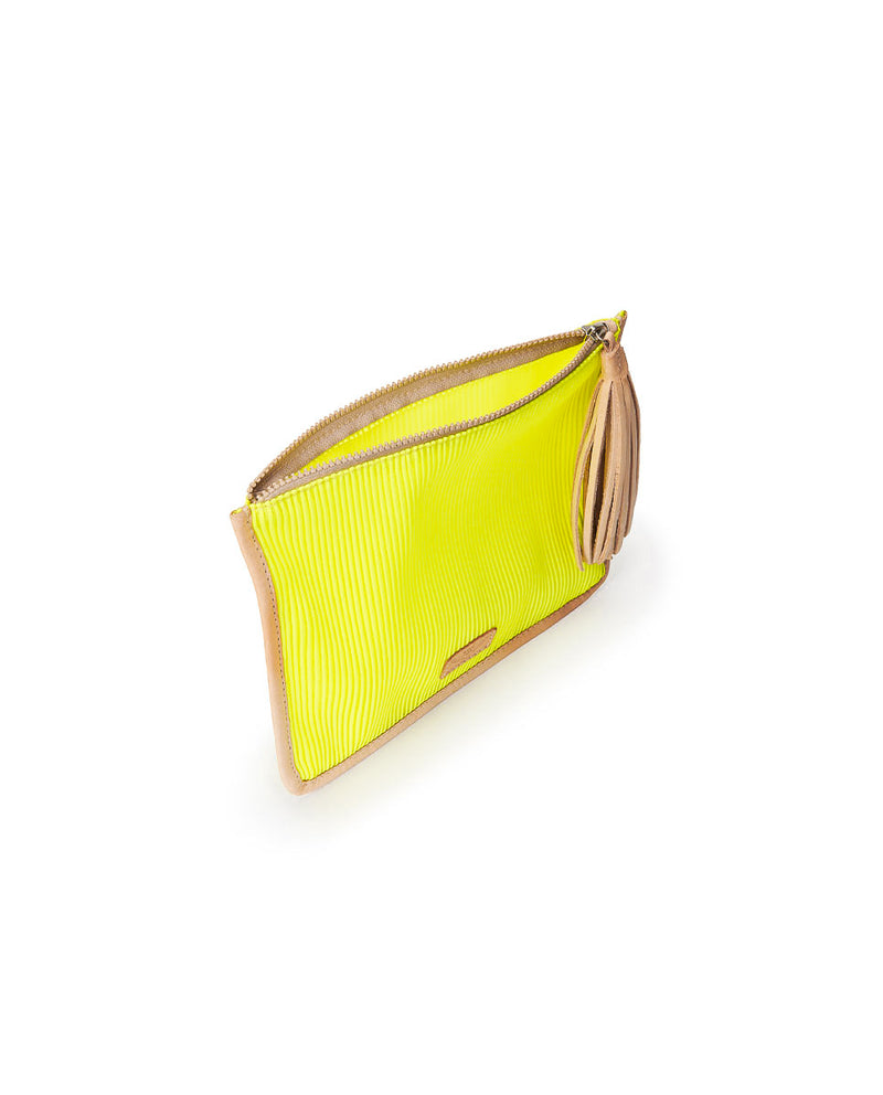 Sunshine Anything Goes Pouch in yellow ribbed fabric by Consuela, interior view