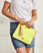 Sunshine Anything Goes Pouch in yellow ribbed fabric by Consuela, model view