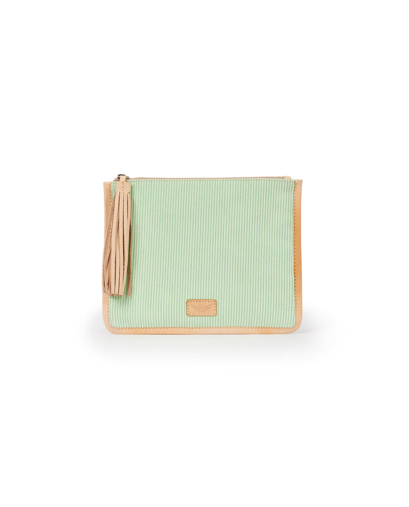 Mint Anything Goes Pouch in mint ribbed fabric by Consulea, front view