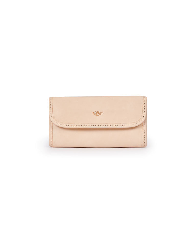 Diego Go-To Clutch in natural, untreated leather by Consuela, front view