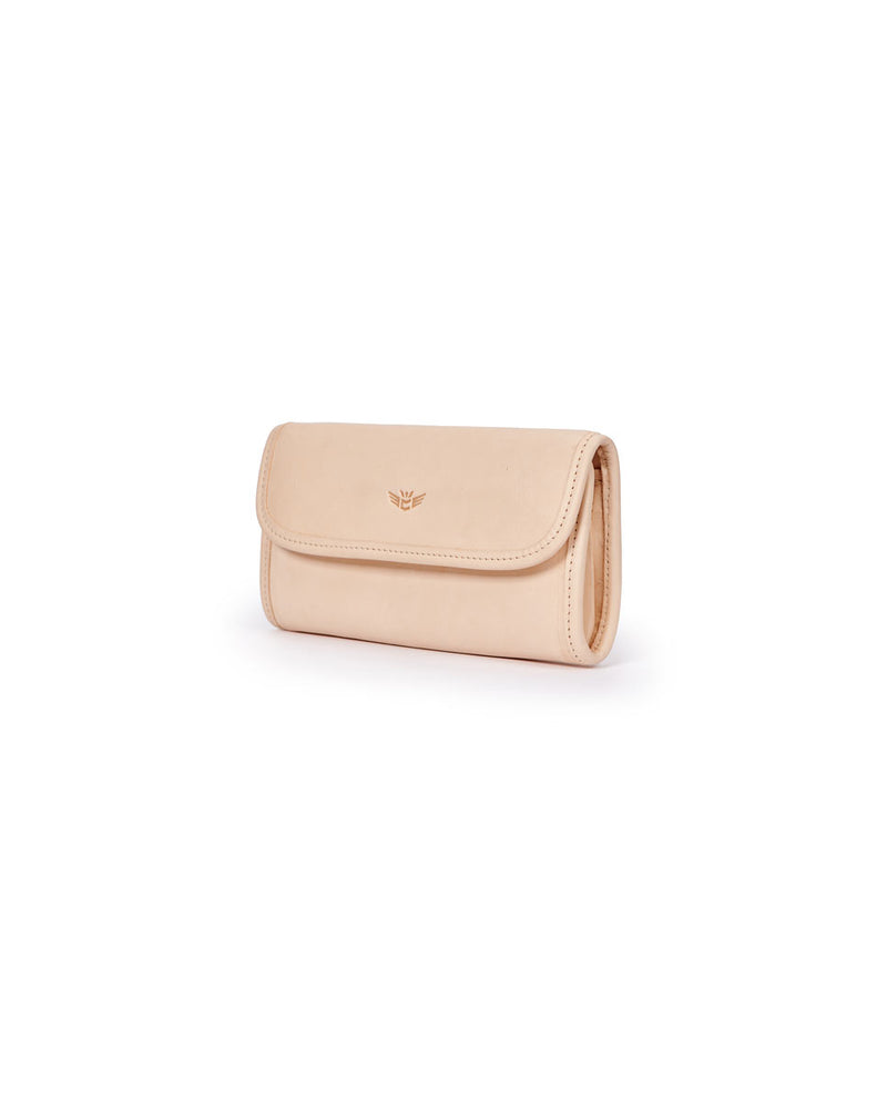 Diego Go-To Clutch in natural, untreated leather by Consuela, side view