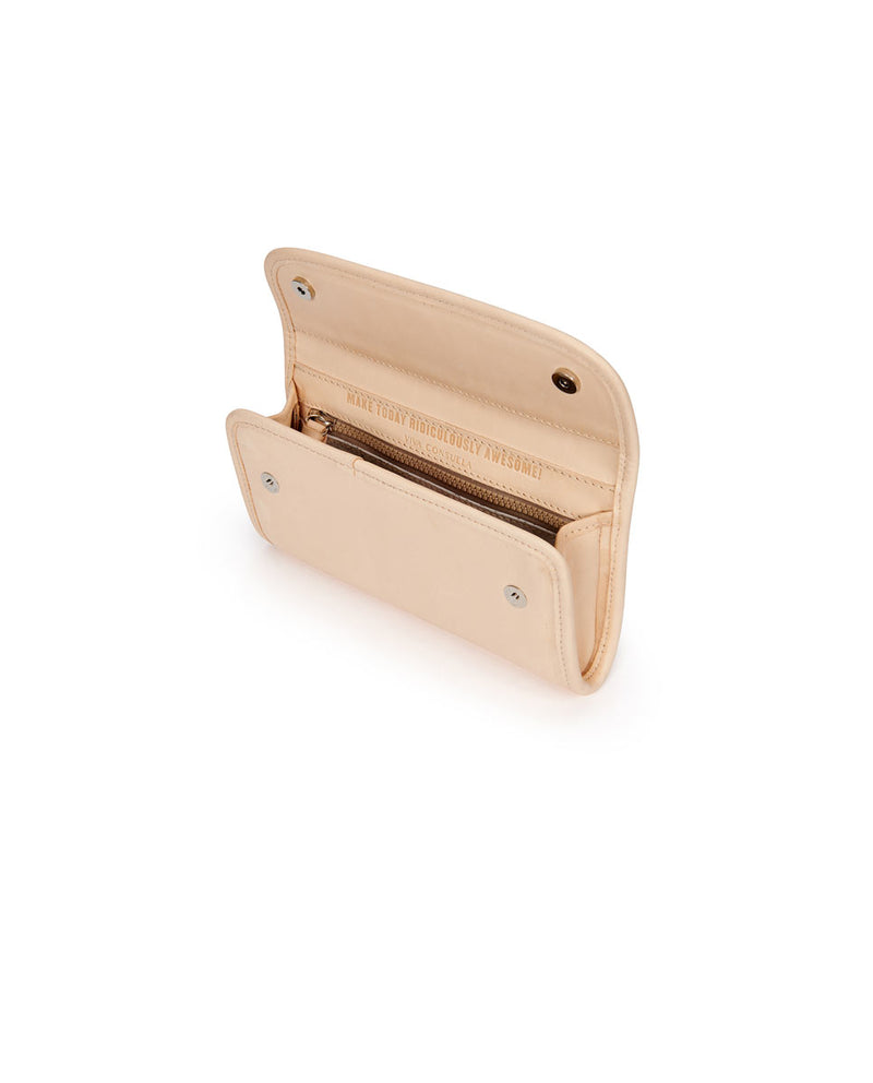 Diego Go-To Clutch in natural, untreated leather by Consuela, interior view