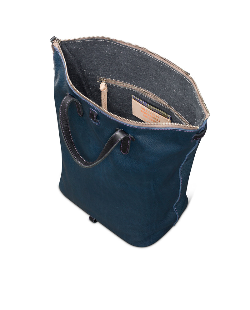 Adelita Sling in navy pebbled leather by Consuela, interior view