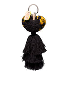Mariachi Charm with embroidered heart and black tassel, front view
