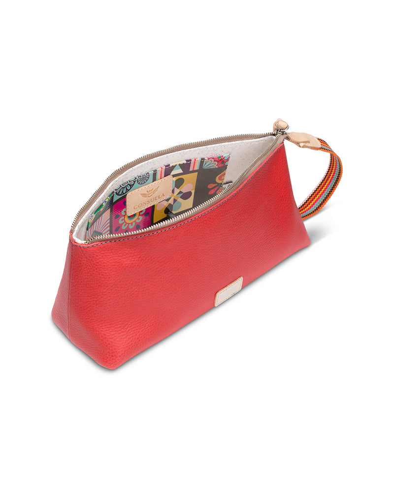 Valentina tool bag in red leather by Consuela, top view