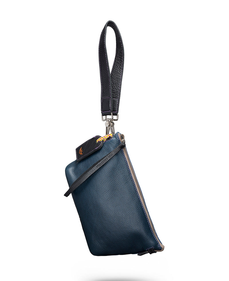 Adelita Your Way Bag in navy pebbled leather by Consuela, front view 2