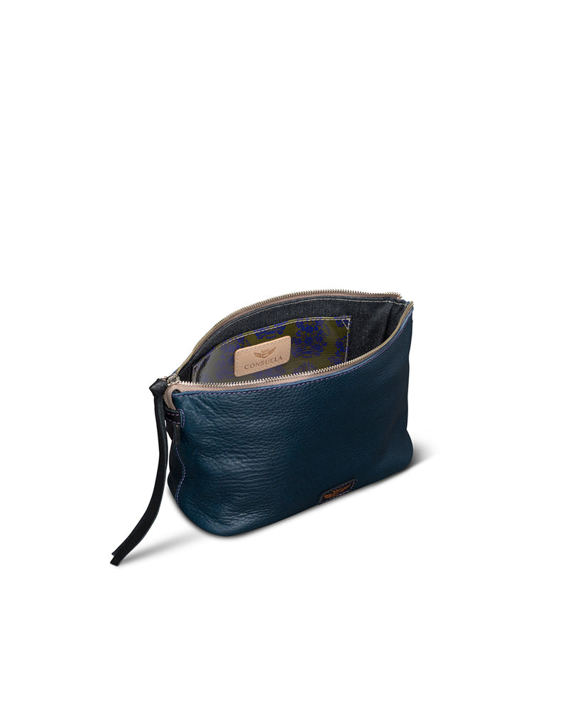 Adelita Your Way Bag in navy pebbled leather by Consuela, interior view