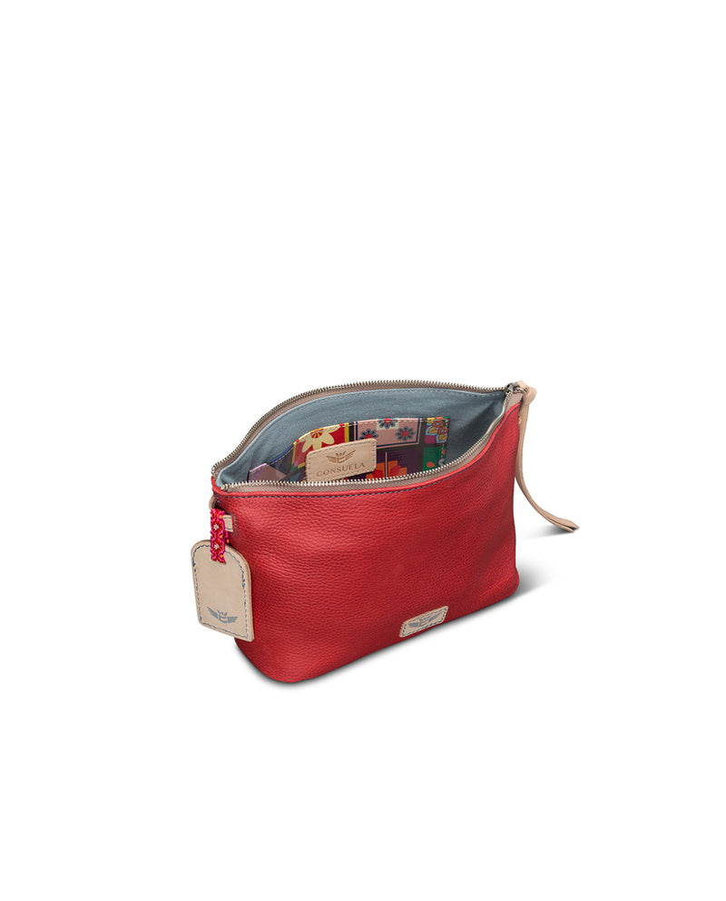 Valentina Pouch in red pebbled leather by Consuela, interior view