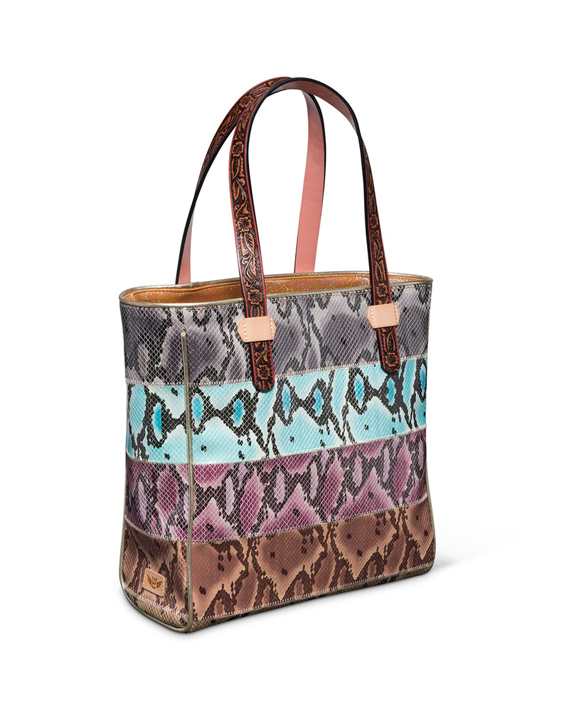Miley Classic Tote with colorful snake print panels by Consuela, side view