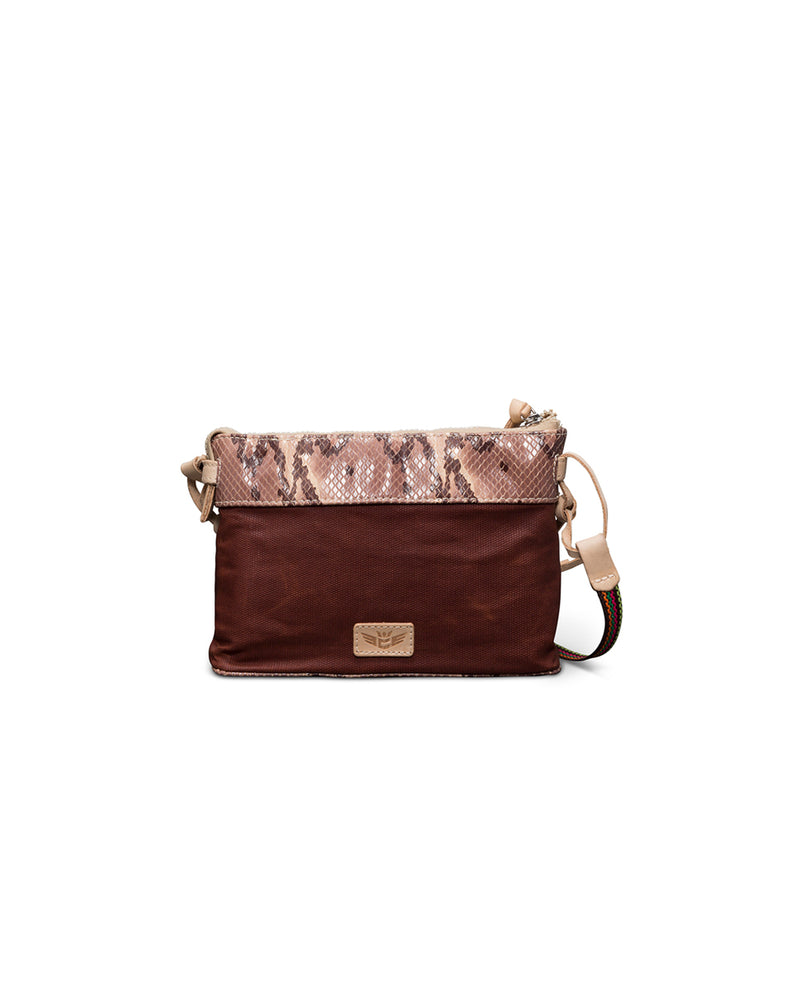 Martina Midtown Crossbody in waxed canvas with snakeprint by Consuela, back view