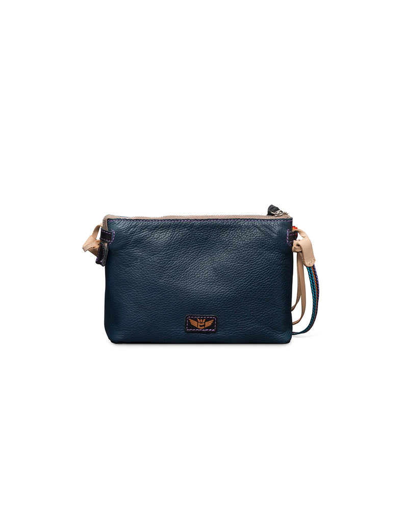 Adelita Teeny Crossbody in navy pebbled leather by Consuela, front view