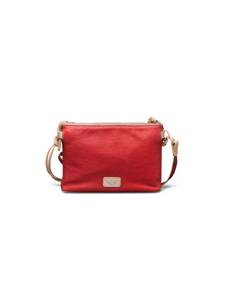 Valentina Teeny Crossbody in red leather by Consuela, back view