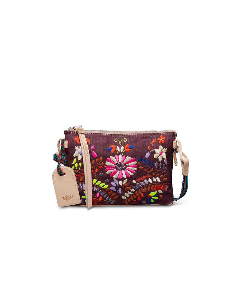 Sonoma Midtown Crossbody in waxed canvas with floral embroidery by Consuela, front view 2