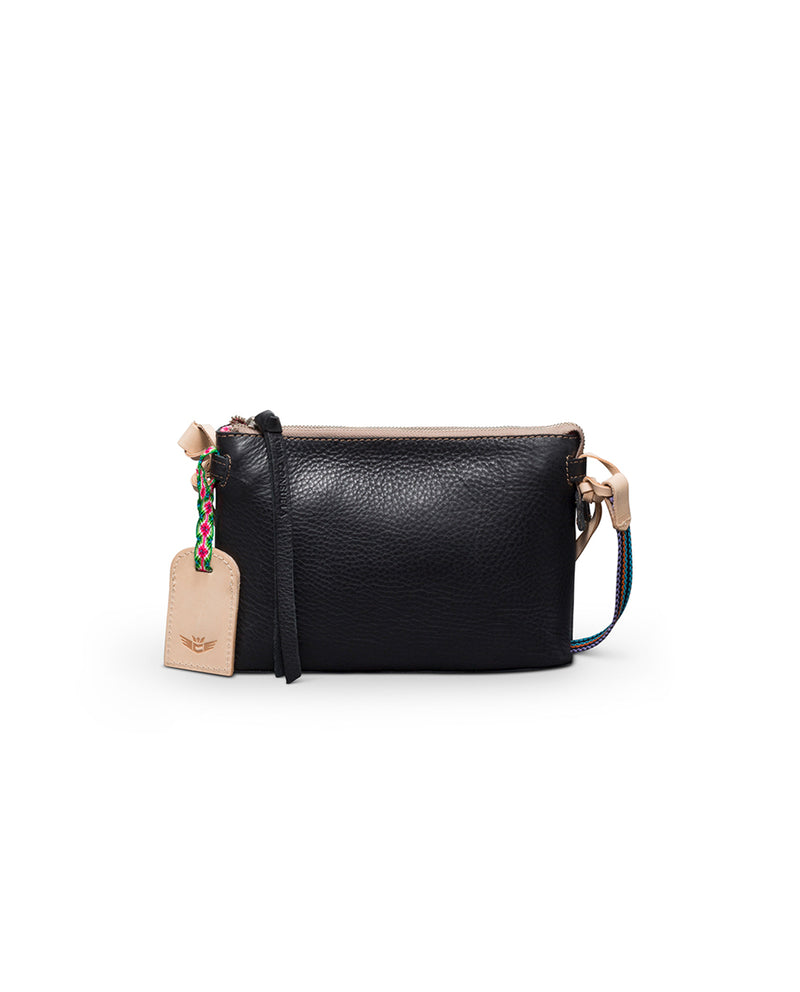 Evie Teeny Crossbody in black leather by Consuela, front view