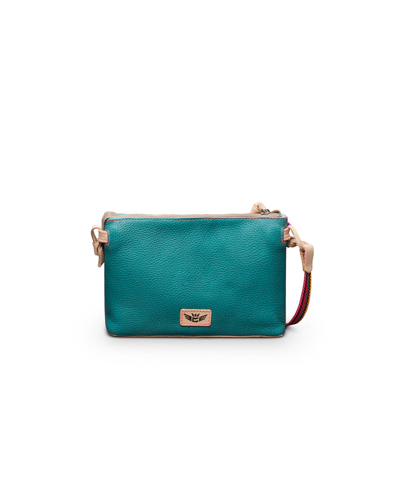 Guadalupe Teeny Crossbody in turquoise leather by Consuela, back view