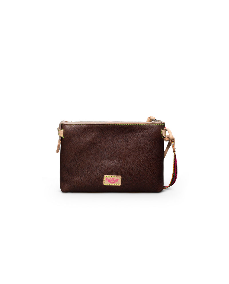 Magdalena Teeny Crossbody in brown leather by Consuela, back view