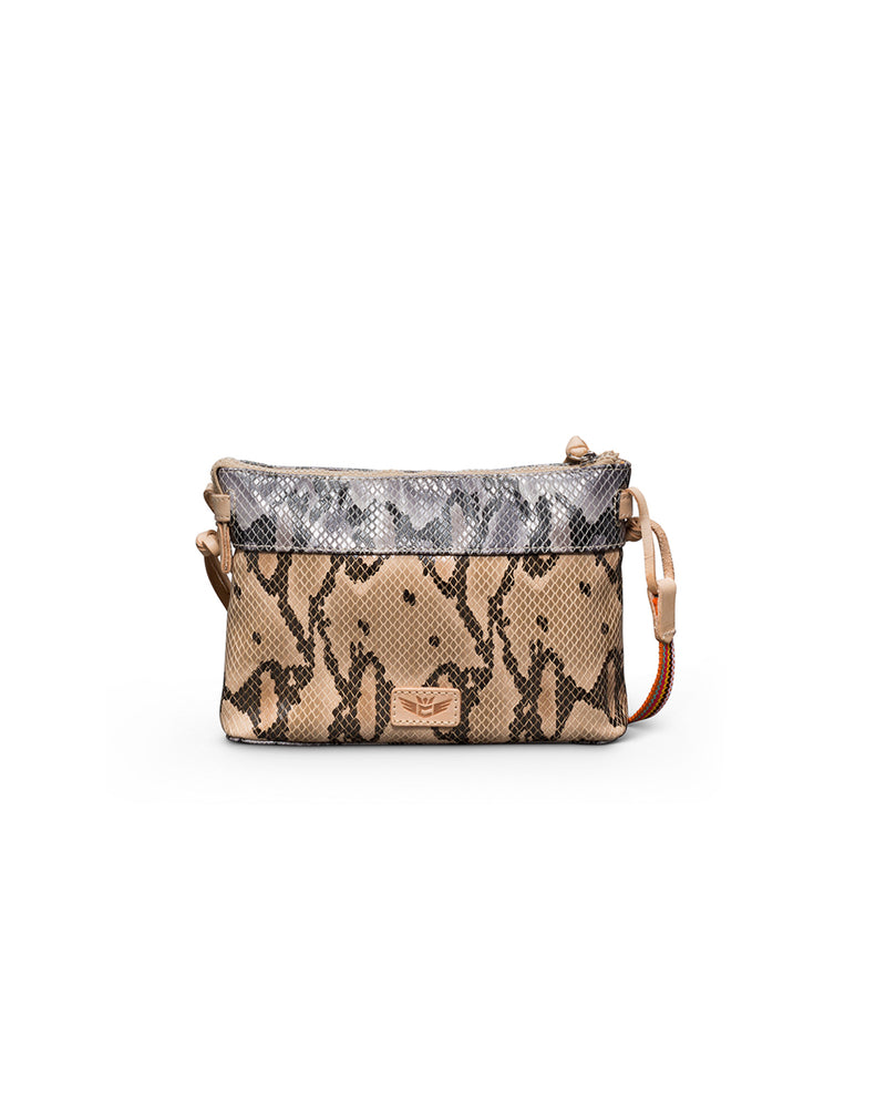 Margot Teeny Crossbody in snake print by Consuela, back view