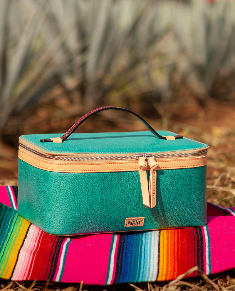 Guadalupe  train case in turquoise leather by Consuela, front view