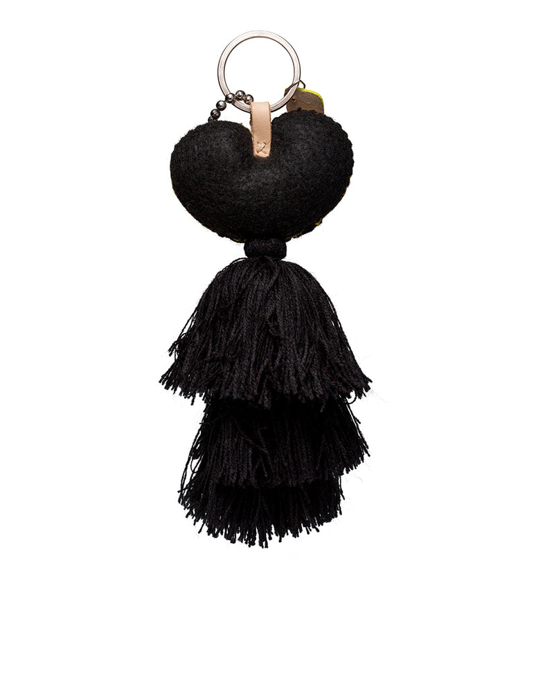 Mariachi Charm with embroidered heart and black tassel, back view