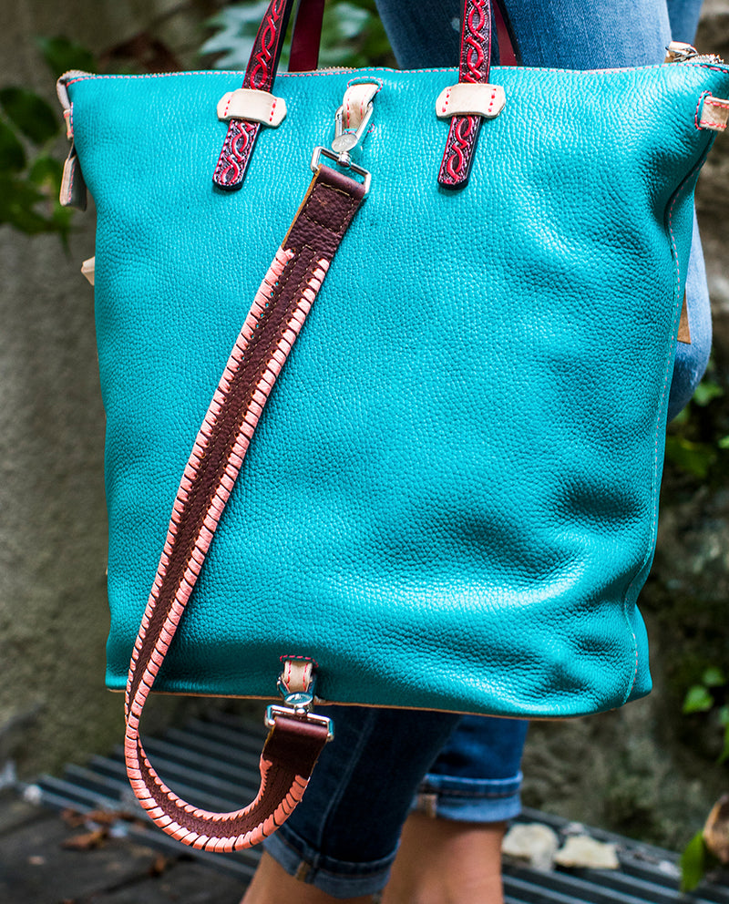 Patsy Shoulder Strap with contrast pink stitching by Consuela, lifestyle view