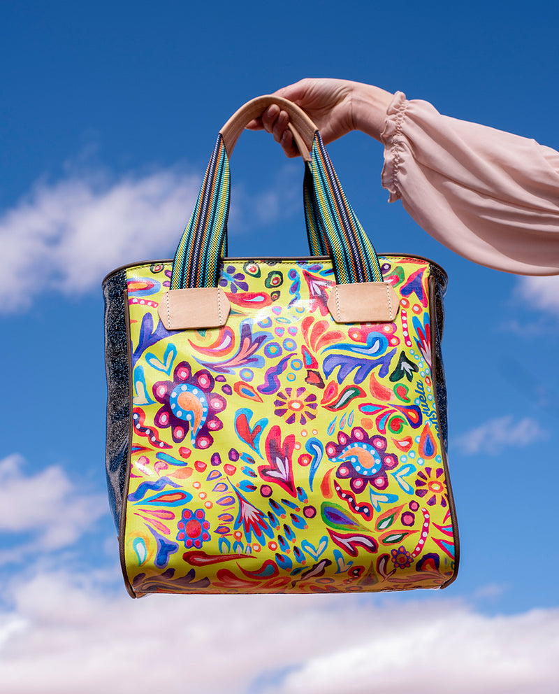 Rita Cassic Tote in ConsuelaCloth™ by Consuela, lifestyle image with sky background