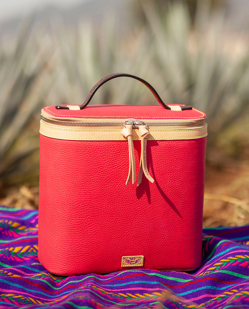 Rosa slim train case in pink leather by Consuela, front view