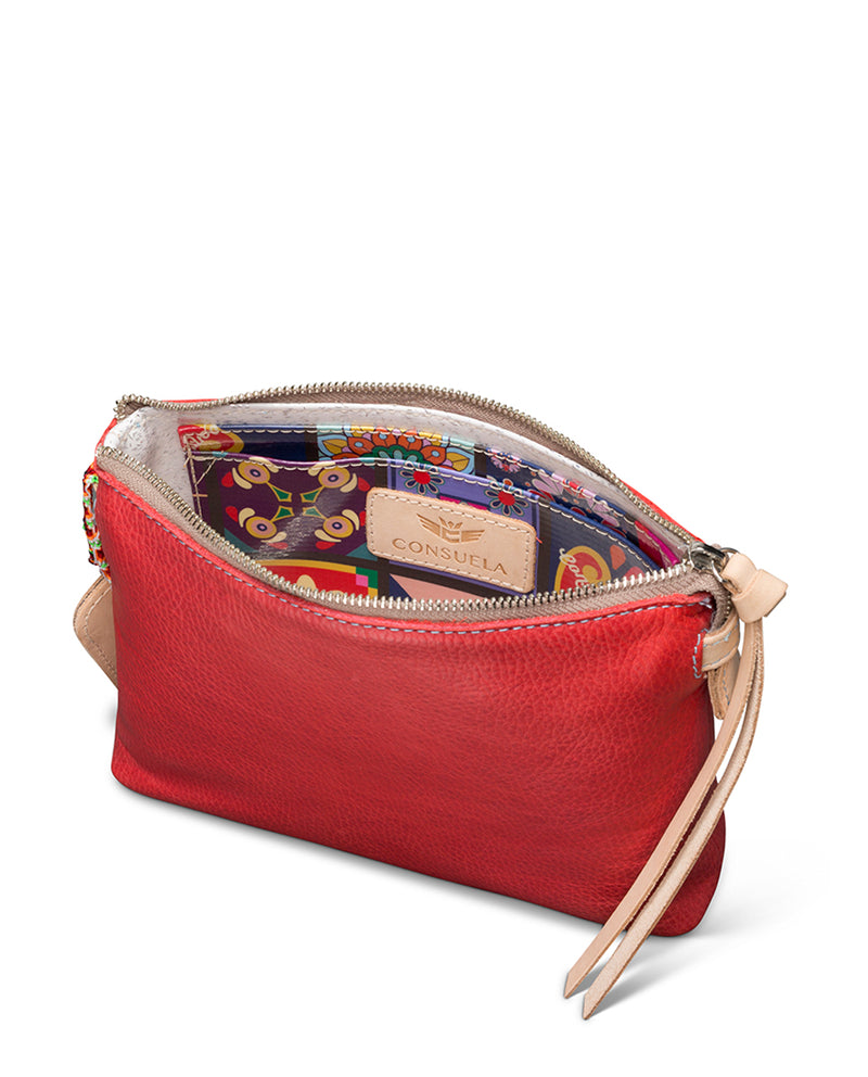 Valentina Teeny Crossbody in red leather by Consuela, interior view