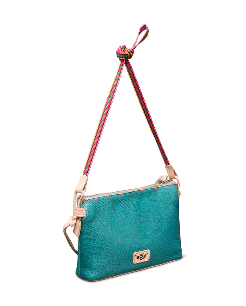Guadalupe Teeny Crossbody in turquoise leather by Consuela, front view 2