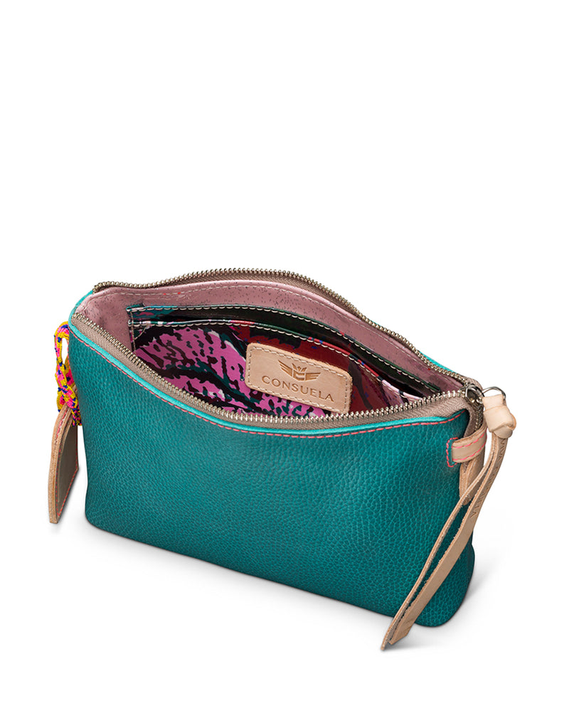 Guadalupe Teeny Crossbody in turquoise leather by Consuela, interior view