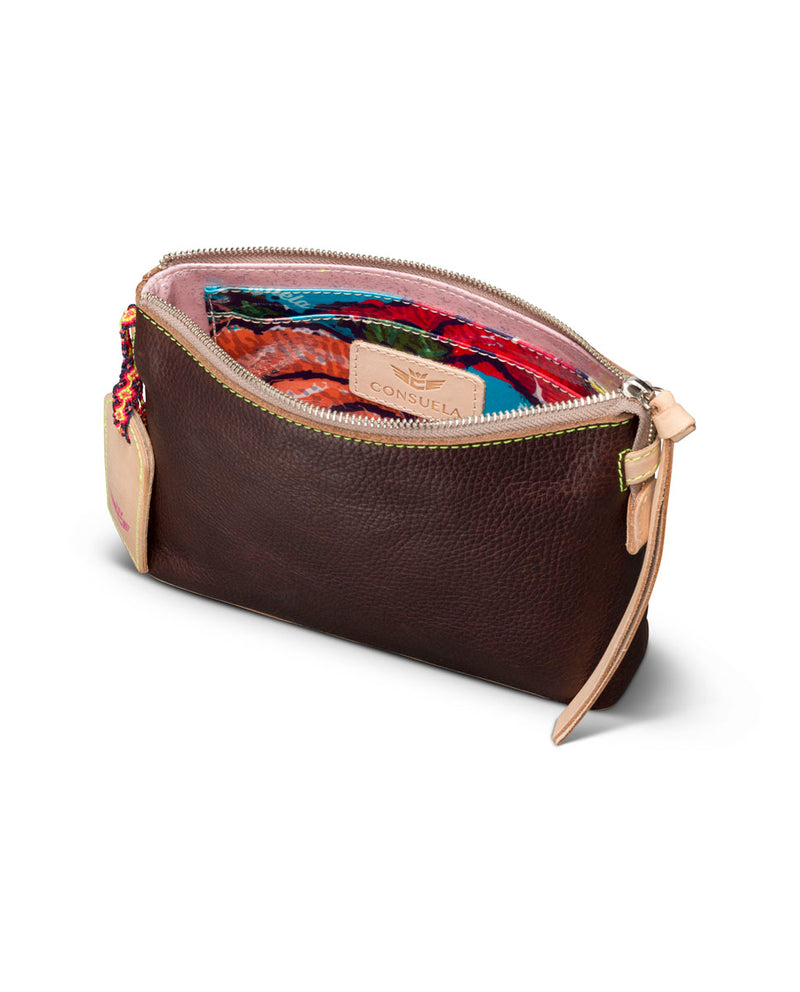 Magdalena Teeny Crossbody in brown leather by Consuela, interior view