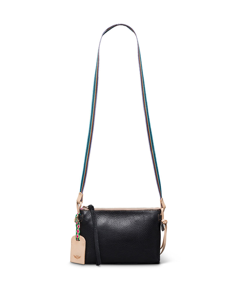 Evie Teeny Crossbody in black leather by Consuela, front view 2