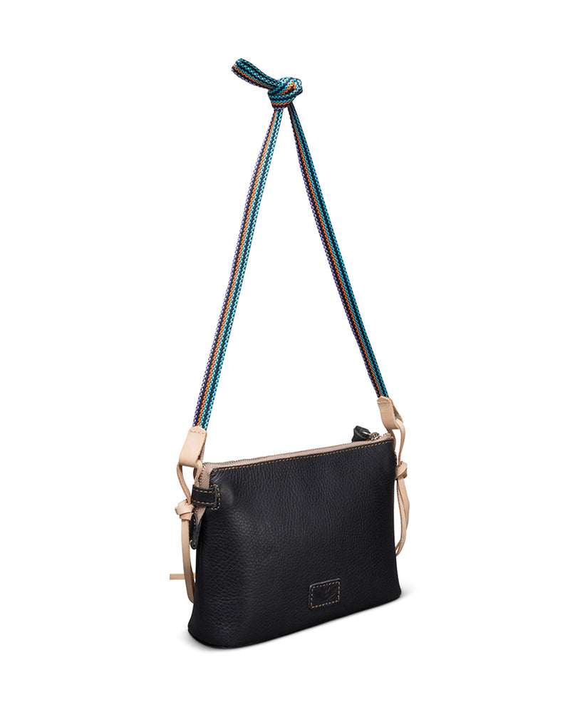 Evie Teeny Crossbody in black leather by Consuela, back view 2