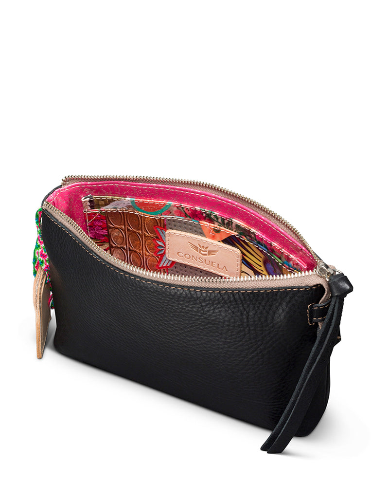 Evie Teeny Crossbody in black leather by Consuela, interior view