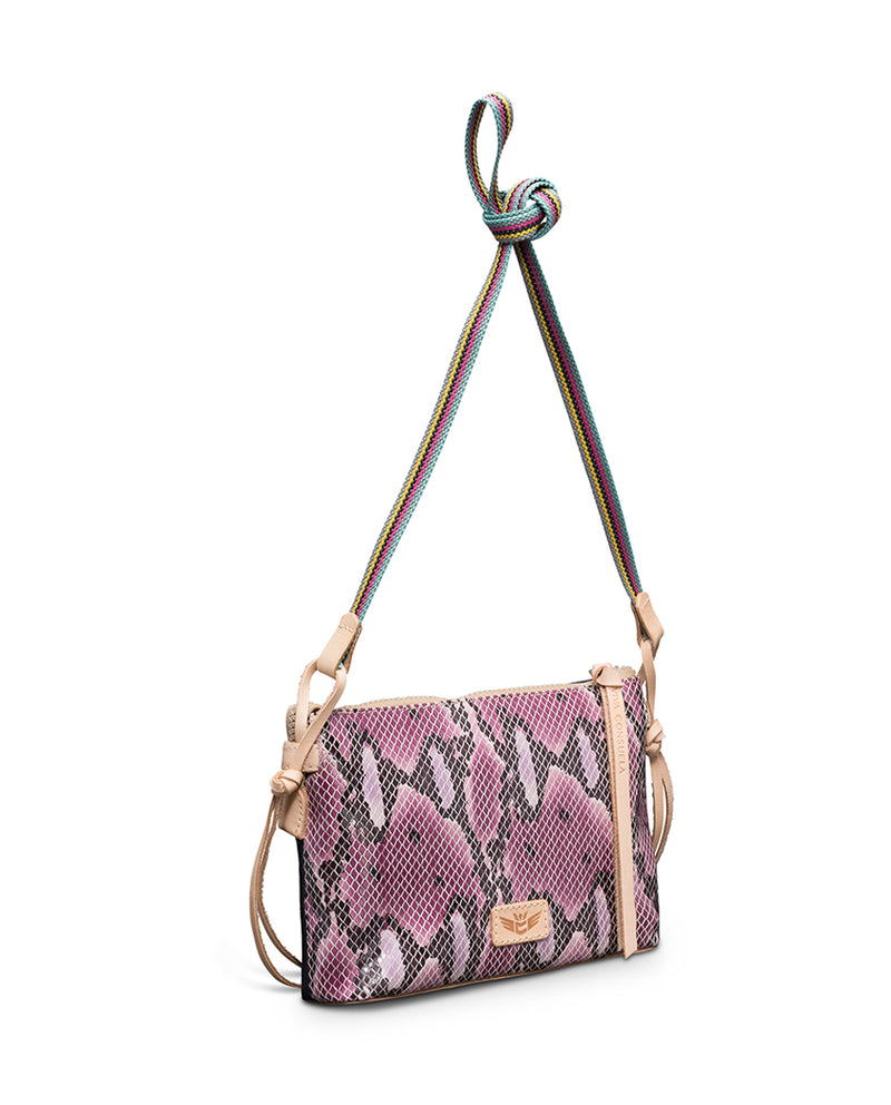 Aurora Teeny Crossbody in waxed canvas and snake print by Consuela, back view 2