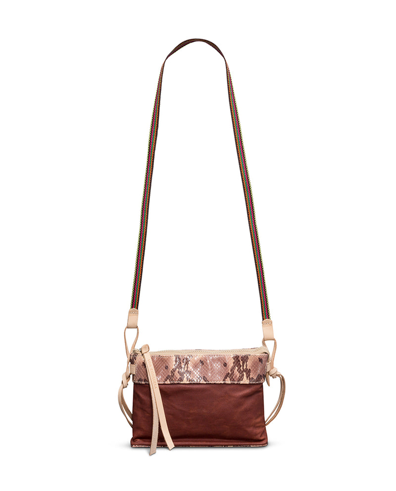 Martina Teeny Crossbody in waxed canvas and snake print by Consuela, front view 2