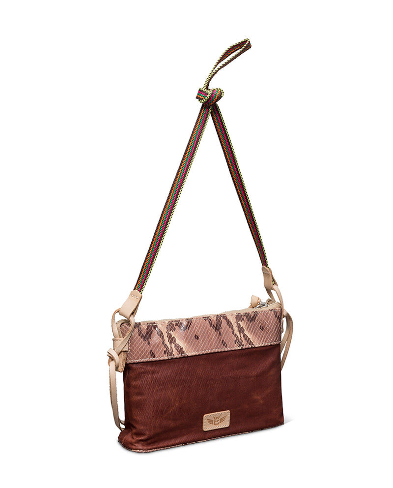 Martina Midtown Crossbody in waxed canvas with snakeprint by Consuela, side view