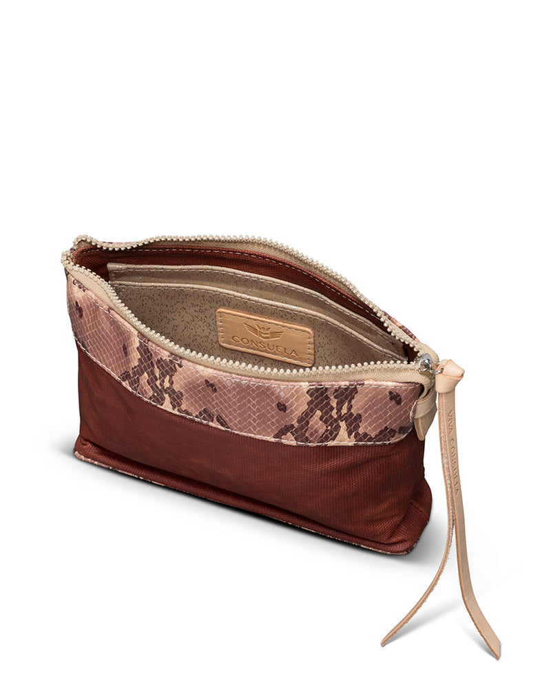 Martina Midtown Crossbody in waxed canvas with snakeprint by Consuela, interior view