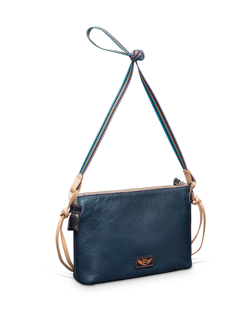 Adelita Teeny Crossbody in navy pebbled leather by Consuela, front view 2