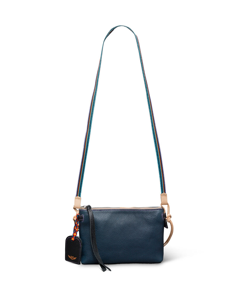 Adelita Teeny Crossbody in navy pebbled leather by Consuela, back view 2