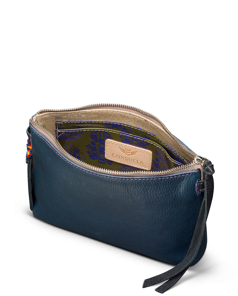 Adelita Teeny Crossbody in navy pebbled leather by Consuela, interior view
