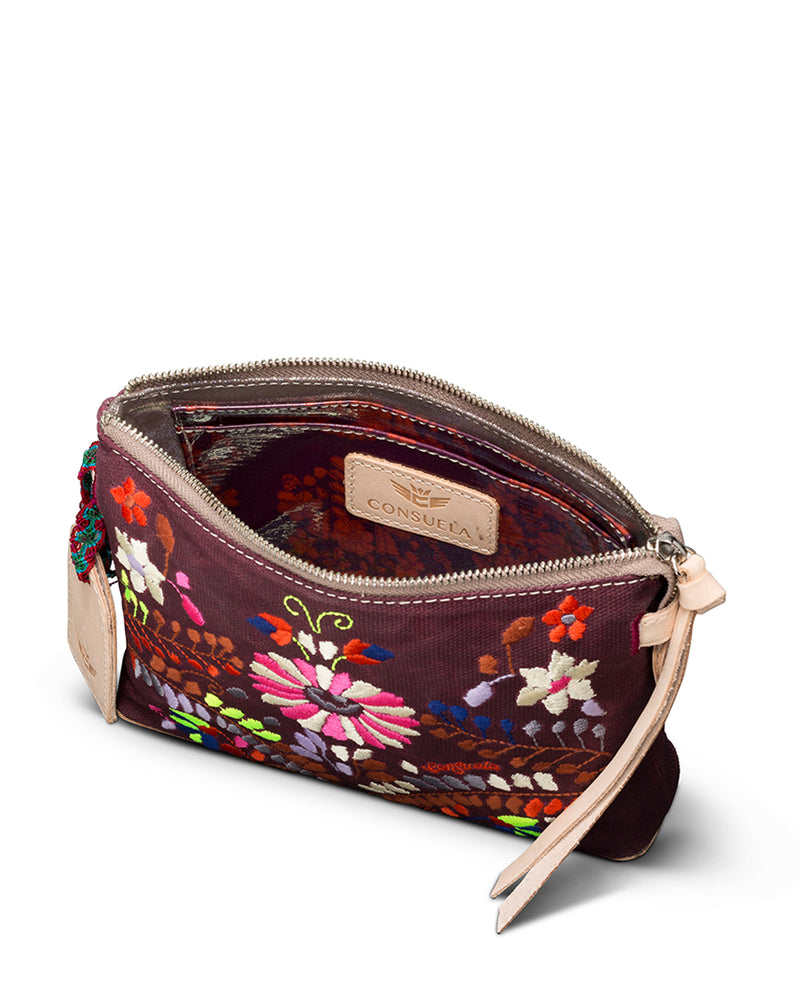 Sonoma Midtown Crossbody in waxed canvas with floral embroidery by Consuela, interior view