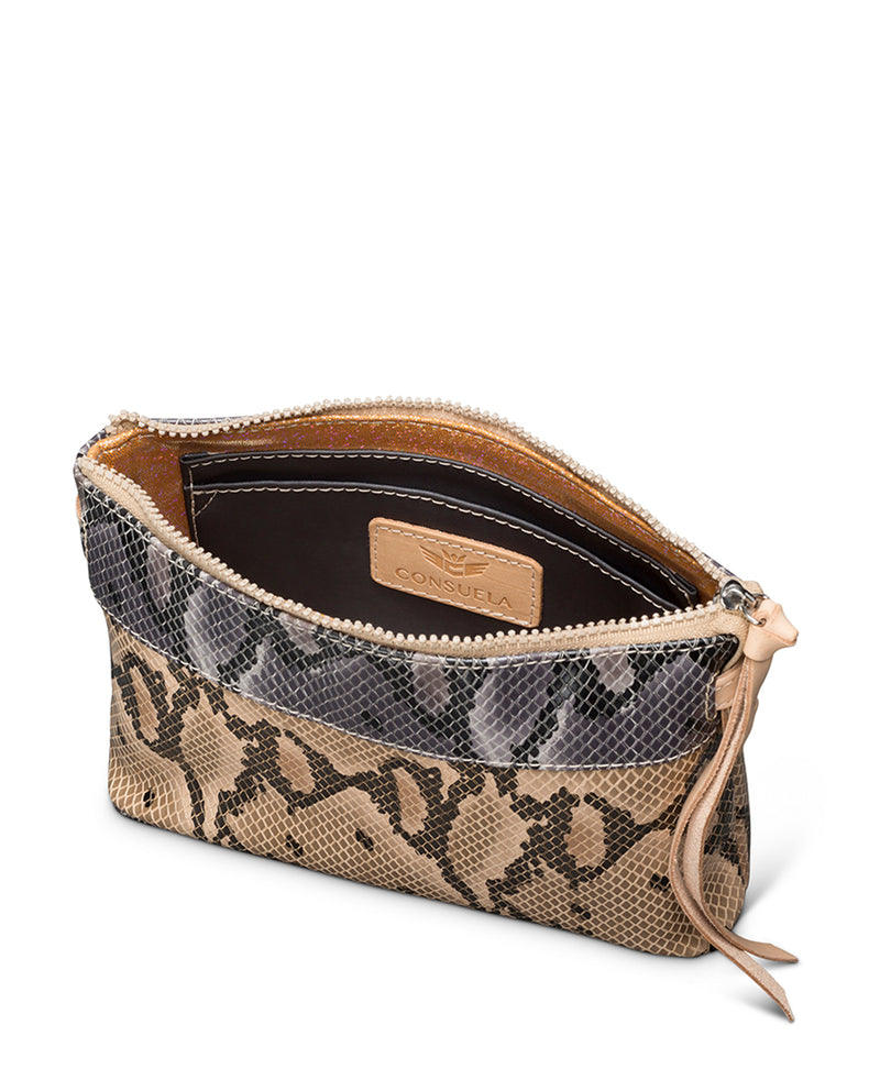 Margot Teeny Crossbody in snake print by Consuela, interior view